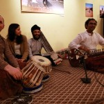 Asad Khan and his musicians - at his workshop